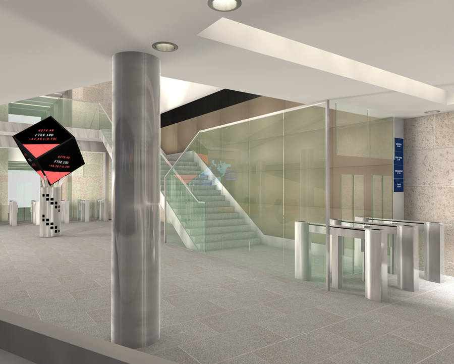 TPS Interiors - cinema 4d render of reception at london stock exchange